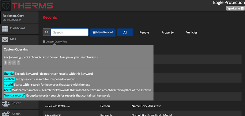 Search Syntax - Reports, Records, Dispatch